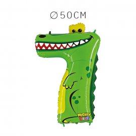 Balão Crocodilo Número 7 Foil 50 cm