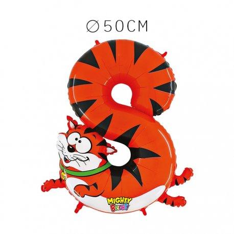 Balão Tigre Número 8 Foil 50 cm