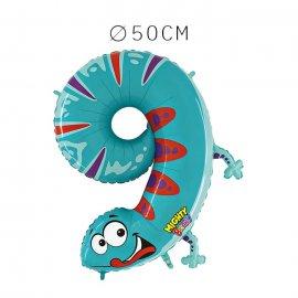 Balão Salamandra Número 9 Foil 50 cm