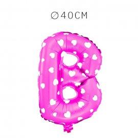 Balão Letra B Foil Rosa com Corações 40 cm