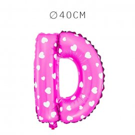 Balão Letra D Foil Rosa com Corações 40 cm