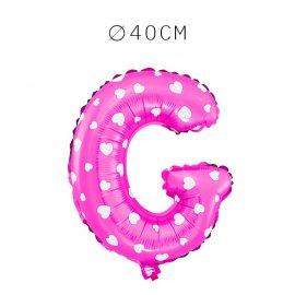 Balão Letra G Foil Rosa com Corações 40 cm