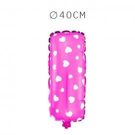 Balão Letra I Foil Rosa com Corações 40 cm