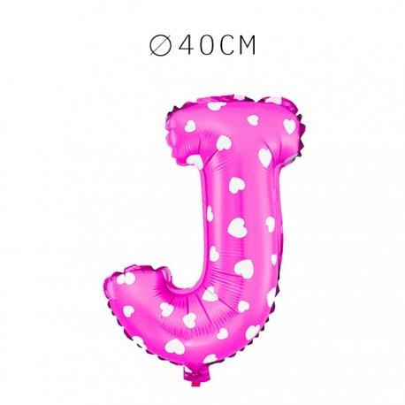 Balão Letra J Foil Rosa com Corações 40 cm