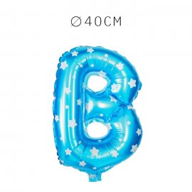 Balão Letra B Foil Azul com Estrelas 40 cm