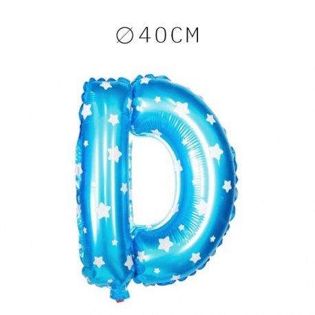 Balão Letra D Foil Azul com Estrelas 40 cm