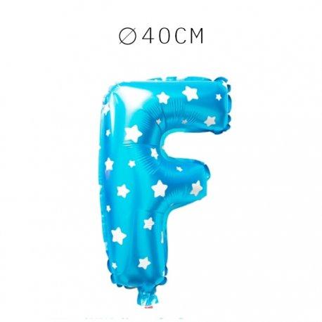 Balão Letra F Foil Azul com Estrelas 40 cm