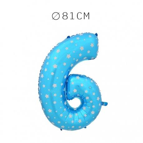 Balão Número 6 Foil Azul com Estrelas 81 cm
