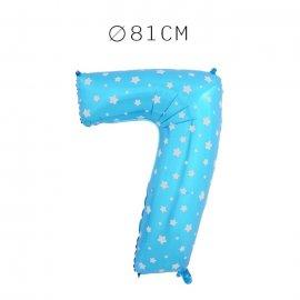 Balão Número 7 Foil Azul com Estrelas 81 cm