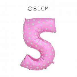 Balão Número 5 Foil Rosa com Corações 81 cm