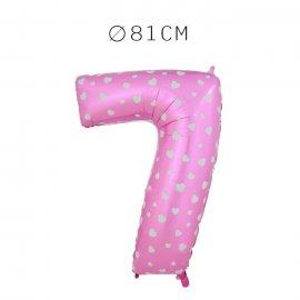 Balão Número 7 Foil Rosa com Corações 81 cm