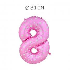 Balão Número 8 Foil Rosa com Corações 81 cm